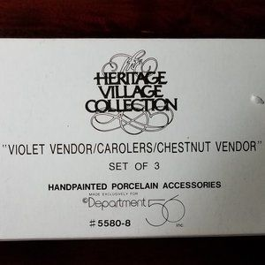 """Violet Vendor/Carolers/Chestnut Vendor"" Dept56"